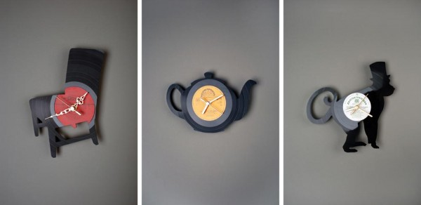 recycled vynil record creative clocks2 600x292 22 Decorative Objects Ideas Using Old Vinyl Records