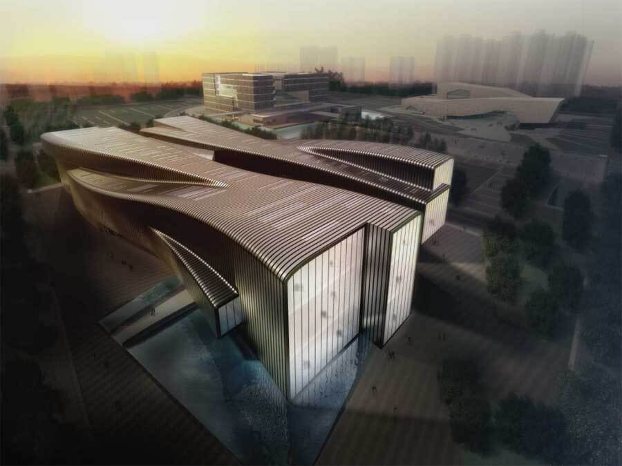 Anhui provincial art museum with modern architectural for Contemporary architecture design concept