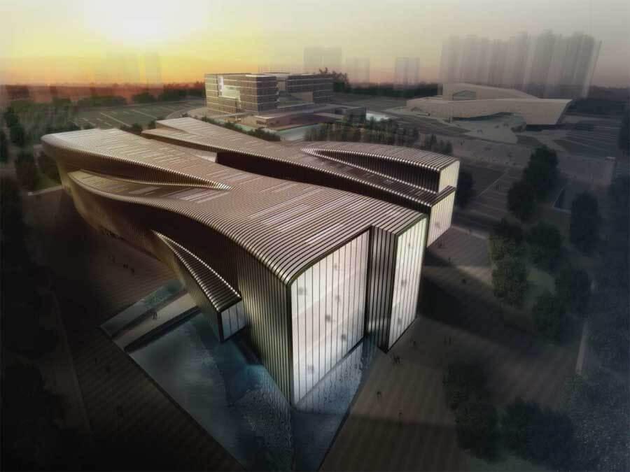 Modern Architecture Museum anhui provincial art museum with modern architectural concept