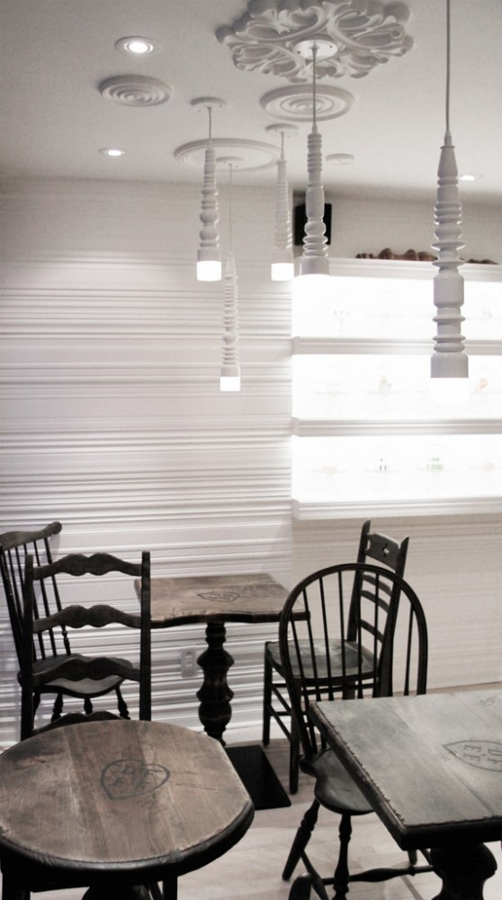 pastry boutique france interior design 558x1000 Enchanting Interior Design for a Pastry Shop in Montreal
