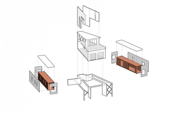 shipping container house axonometric 600x400 Solar Powered House   Shipping Container House Overlooking the Mountains