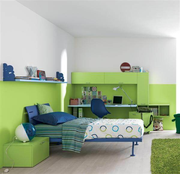 Green Blue Minimalist Bedroom Design1 How to use Green Color for Interior Design