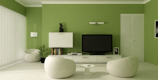 Minimalist Contemporary Living Room with Relaxing Green Wall Paint Color and White Funiture 880x451 600x307 Living Room Paint Ideas