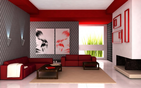red paint color for modern living room - Paint Designs For Living Room