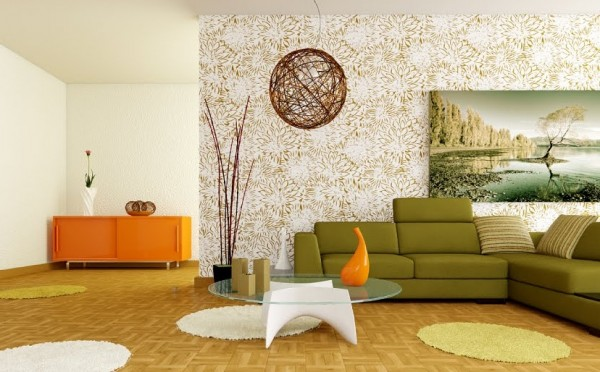 Retro white orange green living room 600x372 How to use Green Color for Interior Design