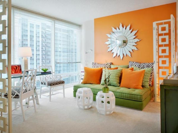 can u spot the trends form corbis white painted bamboo furniture sunburst mirror chinese stool graphic prints orange walls 600x450 Living Room Paint Ideas