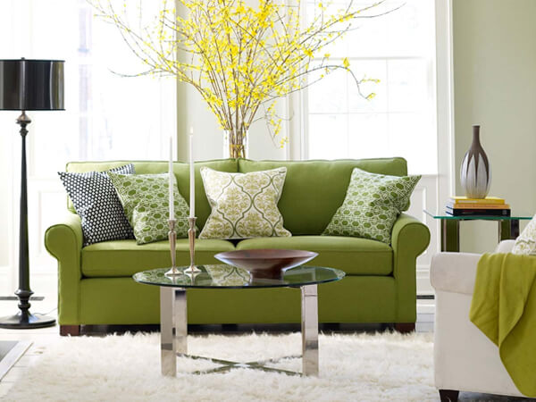 cool green sofa living room design ideas1 How to use Green Color for Interior Design