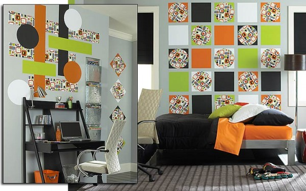 green orange wall decorating ideas 600x375 How to use Green Color for Interior Design
