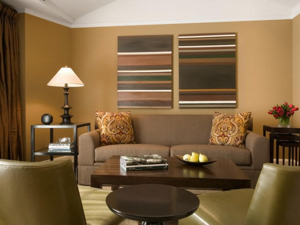 Living Room With Brown Paint Tones
