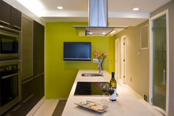 kitchen green 600x400 How to use Green Color for Interior Design