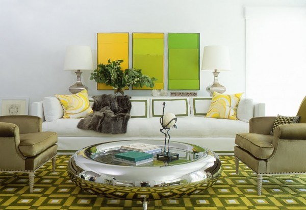 pamplemousse living room green yellow round silver donut coffee table white sofa color block 600x411 How to use Green Color for Interior Design