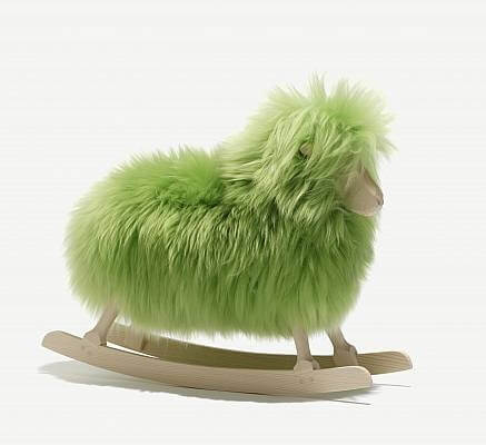 Rocking sheep green Unique Craft Object by Povl Kjer