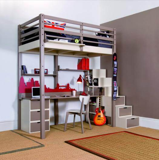 Boys Bedrooms with Loft Beds for Small Spaces 525 x 528