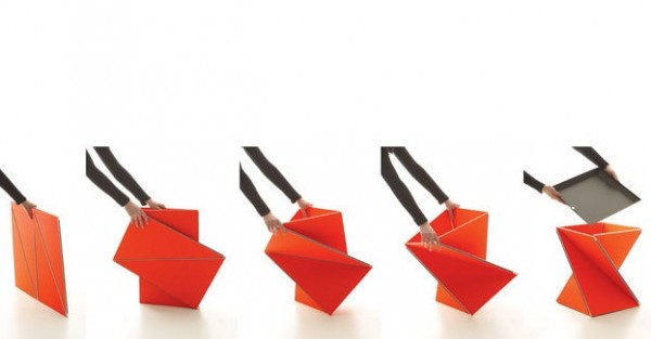 Kada Stool by fuseproject 03 600x313 Origami Inspired Folding Stool by Yves Behar