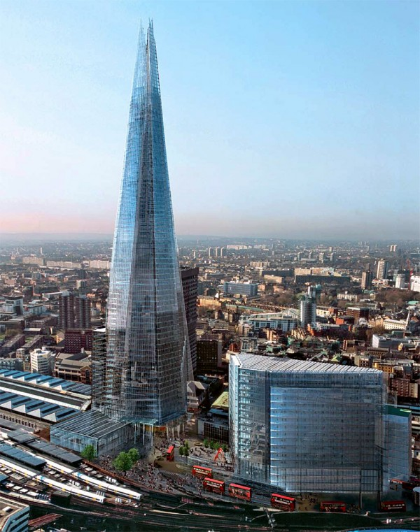 The Shard London by Renzo Piano 01 600x761 The Shard Skyscraper, Europe's Tallest Building Unveiled in London