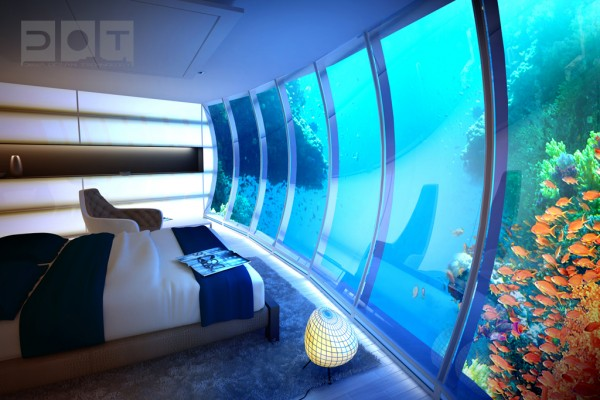 bed underwater hotel 600x400 The Water Discus Underwater Hotel
