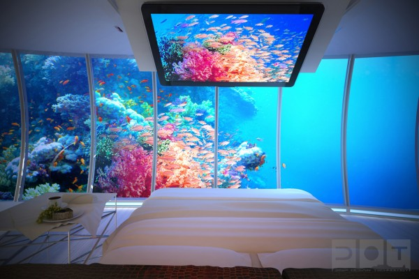 bedroom underwater hotel 600x400 The Water Discus Underwater Hotel