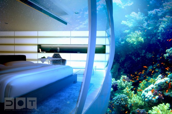 underwater views 600x400 The Water Discus Underwater Hotel