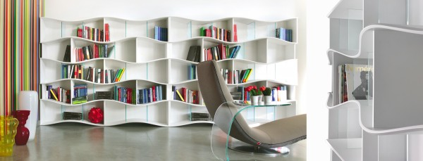 Dynamic Onda Bookcase System 02 600x229 Undulating Modular Bookcase System from Tonin CASA