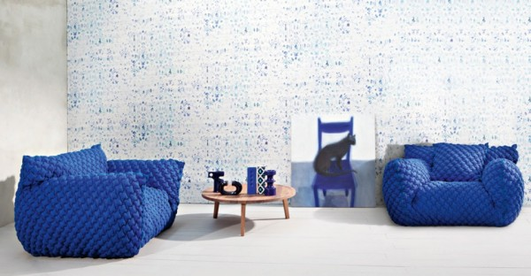 Blue armchair design from Gervasoni 01 600x312 Comfortable Upholstered Cloud Chair and Sofas from Gervasoni