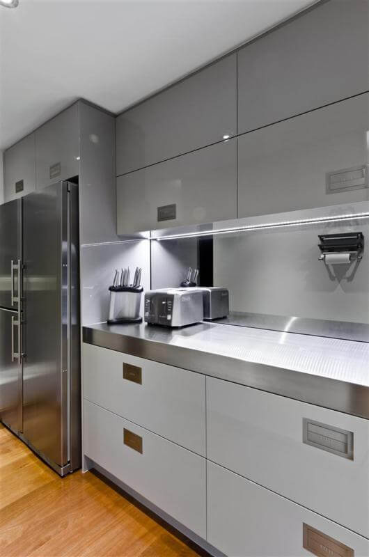 Butlers pantry stainless steel benchtop fridge storage Sophisticated Simplicity Defines Darren Jamess Kitchen Renovation