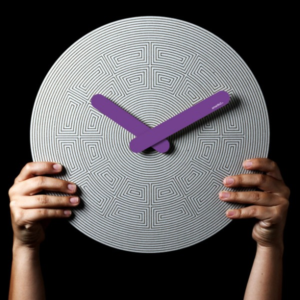 Colorful eco friendly clock purple 600x600 Eco Friendly Handcrafted Pensamientos Clock Series