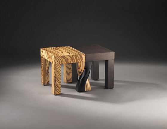 Creative stools design black and wood 01 Intertwined Stools by Kan & Lau Design