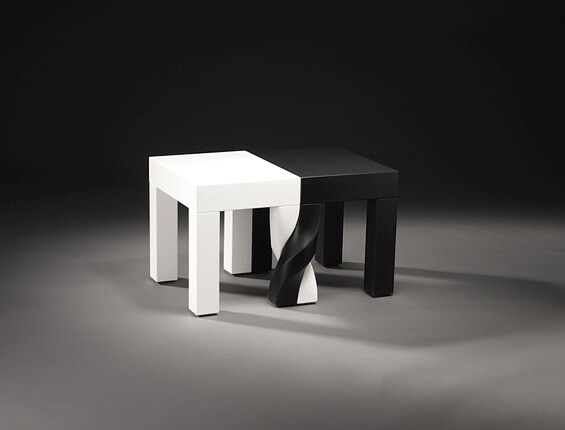 Creative stools design black and wood 03 Intertwined Stools by Kan & Lau Design