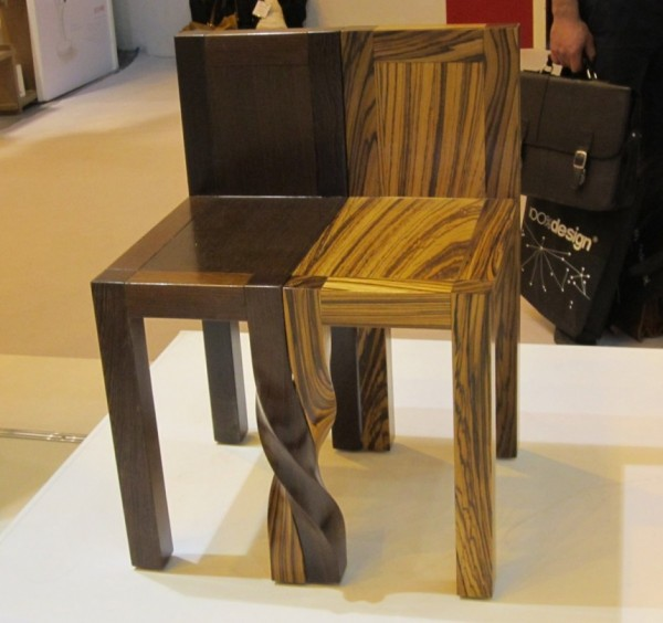 Creative stools design black and wood 04 600x564 Intertwined Stools by Kan & Lau Design