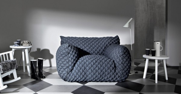 Grey armchair design from Gervasoni 02 600x312 Comfortable Upholstered Cloud Chair and Sofas from Gervasoni