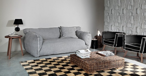 Grey upholstered sofa from Gervasoni 03 600x312 Comfortable Upholstered Cloud Chair and Sofas from Gervasoni