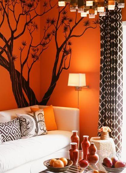 Orange and black Halloween colors 10 Intimacy and Drama: Interior Design Inspired by Halloween Colors