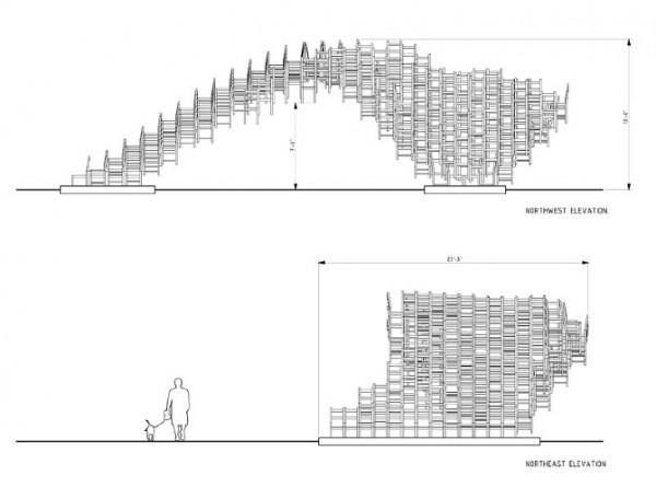 Public art project by EB Office 08 600x445 Interesting Garden Pavillion for Flux Projects at Freedom Park in Atlanta