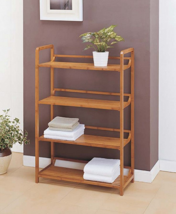 Bamboo shelving unit for bathroom 600x729 Simple Eco Friendly Ideas for Remodeling Your Bathroom