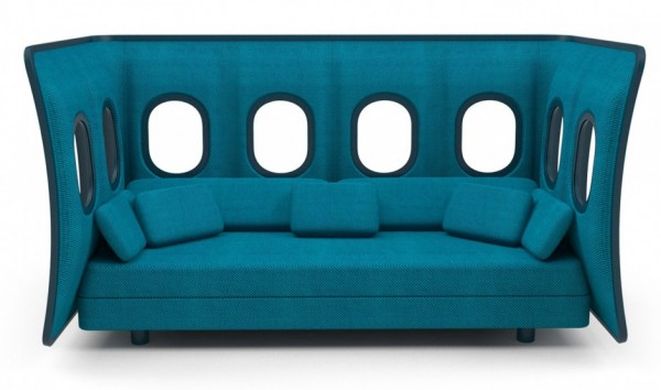 Blue modern sofa with windows 600x354 Original Sofa Design Inspired by the Panel of an Airplane