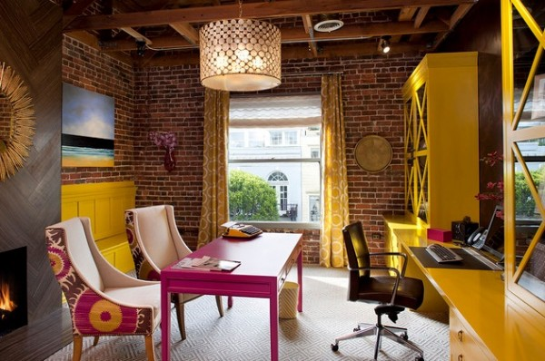 Colorful home office 600x398 How to Design a Good Home Office