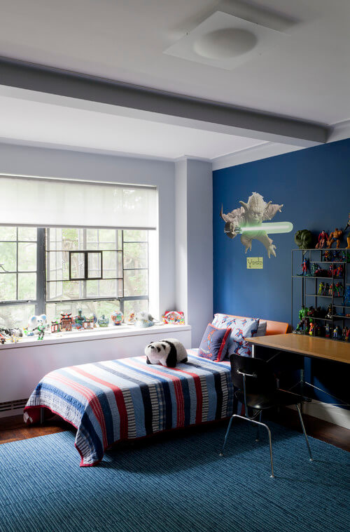 Contemporary kids bedroom with blue walls Kids Room Wall Decorating Ideas