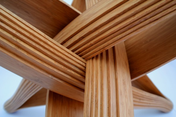 Lock bamboo table frame close up 600x399 Beautiful Dinner Table Showcasing Ecologic Design