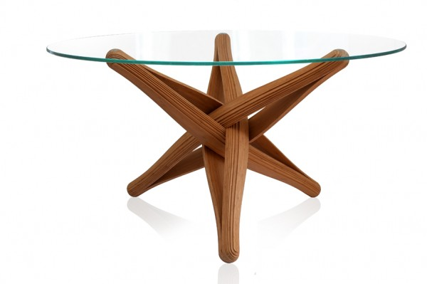 Lock bamboo table glass top 600x399 Beautiful Dinner Table Showcasing Ecologic Design