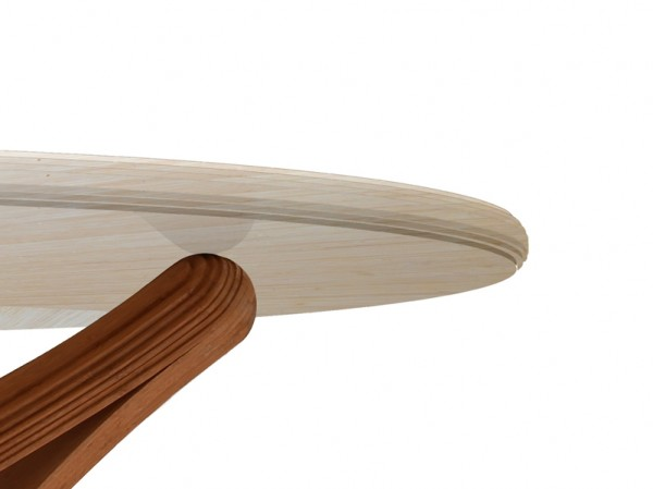 Lock bamboo table white top detail 600x449 Beautiful Dinner Table Showcasing Ecologic Design