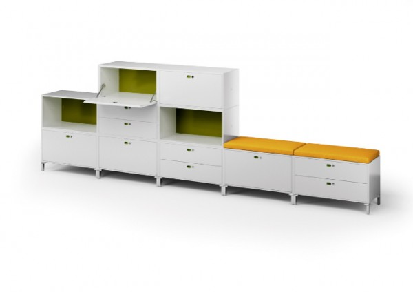 White modular furniture piece DotBox 02 600x424 Innovative Modular System for Modern Home Offices