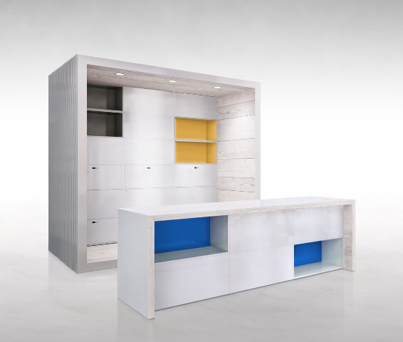 White modular furniture piece DotBox 04 Innovative Modular System for Modern Home Offices