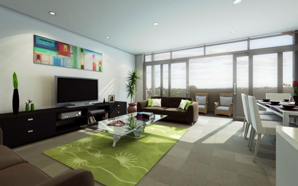 lcd tv interior design 600x375 TVs In Modern Interiors: To Hide Or Not To Hide