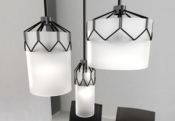 Black and white hanging fixture by Luis Porem Modern Ceiling Lamp Displaying Appealing Design