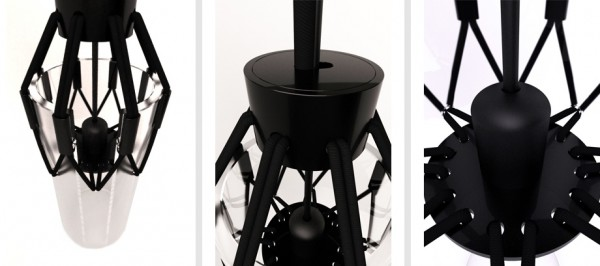 Black metal elements on modern lighting fixture 600x266 Modern Ceiling Lamp Displaying Appealing Design