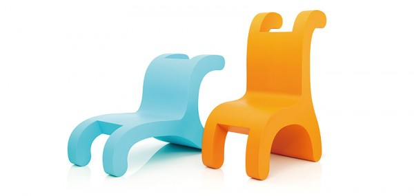 Blue and orange creative chairs 600x285 Playful Flip Chairs by Daisuke Motogi Architecture