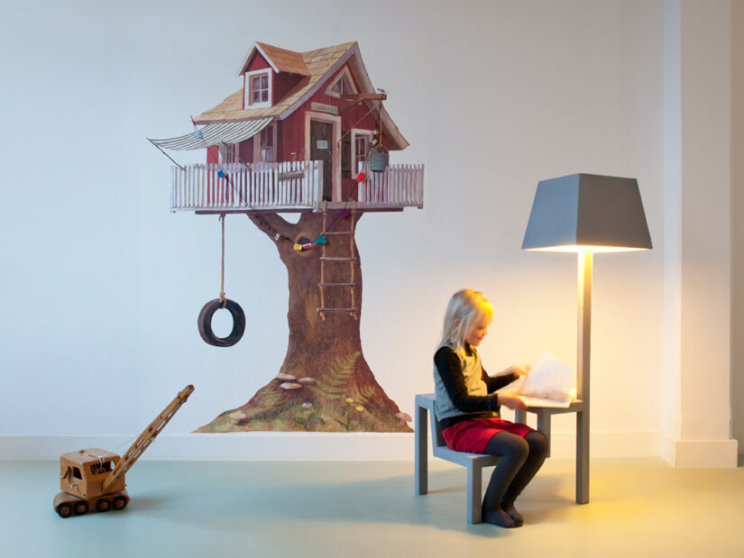 Creative grey chair with lamp 04 All in One Chair for Children by Frederik Roijé