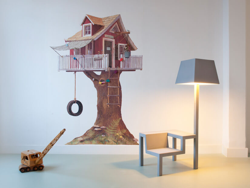 Creative grey chair with lamp 05 All in One Chair for Children by Frederik Roijé