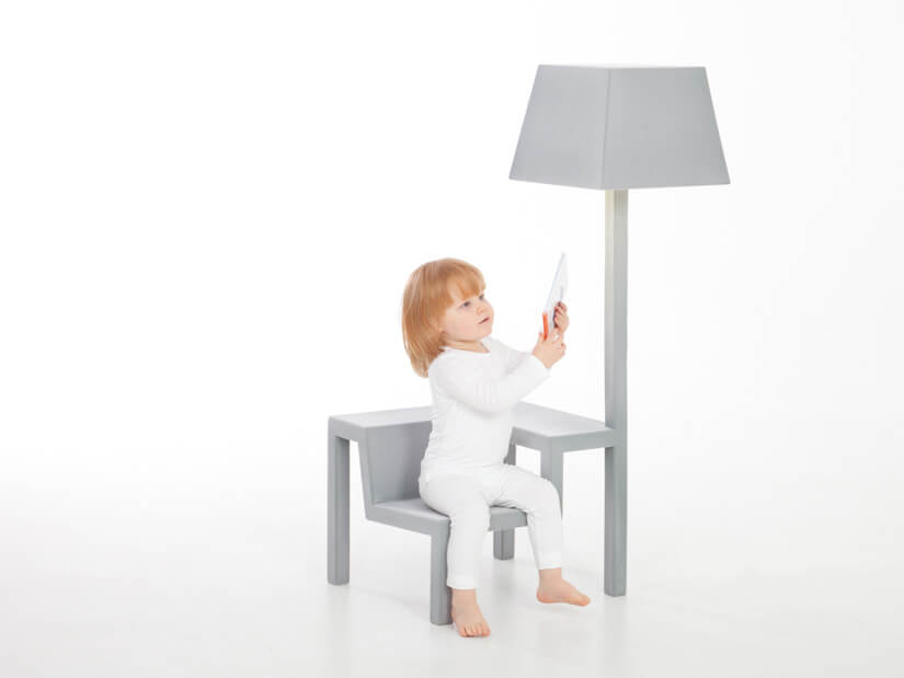 Creative grey chair with lamp All in One Chair for Children by Frederik Roijé