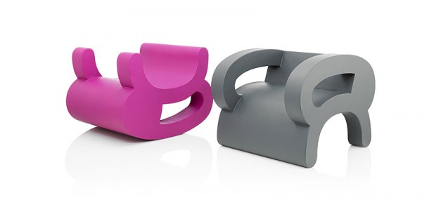 Grey and pink creative chairs 600x285 Playful Flip Chairs by Daisuke Motogi Architecture